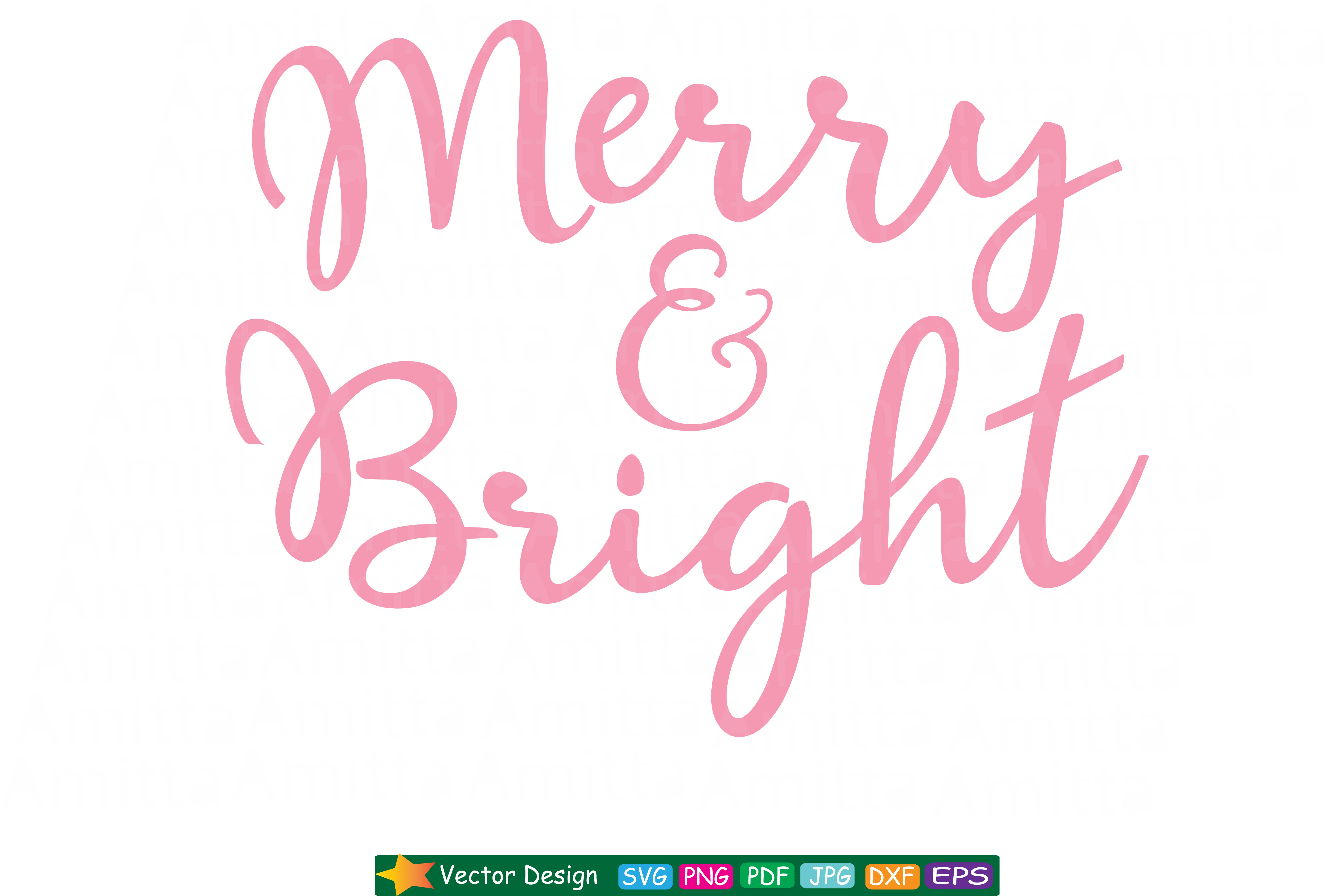 Download Free Merry And Bright Svg Christmas Svg Graphic By Amitta for Cricut Explore, Silhouette and other cutting machines.