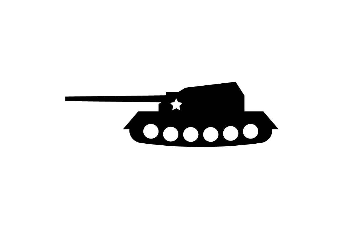 Download Free Military Tank Monochrome Icon Graphic By Hoeda80 Creative Fabrica for Cricut Explore, Silhouette and other cutting machines.