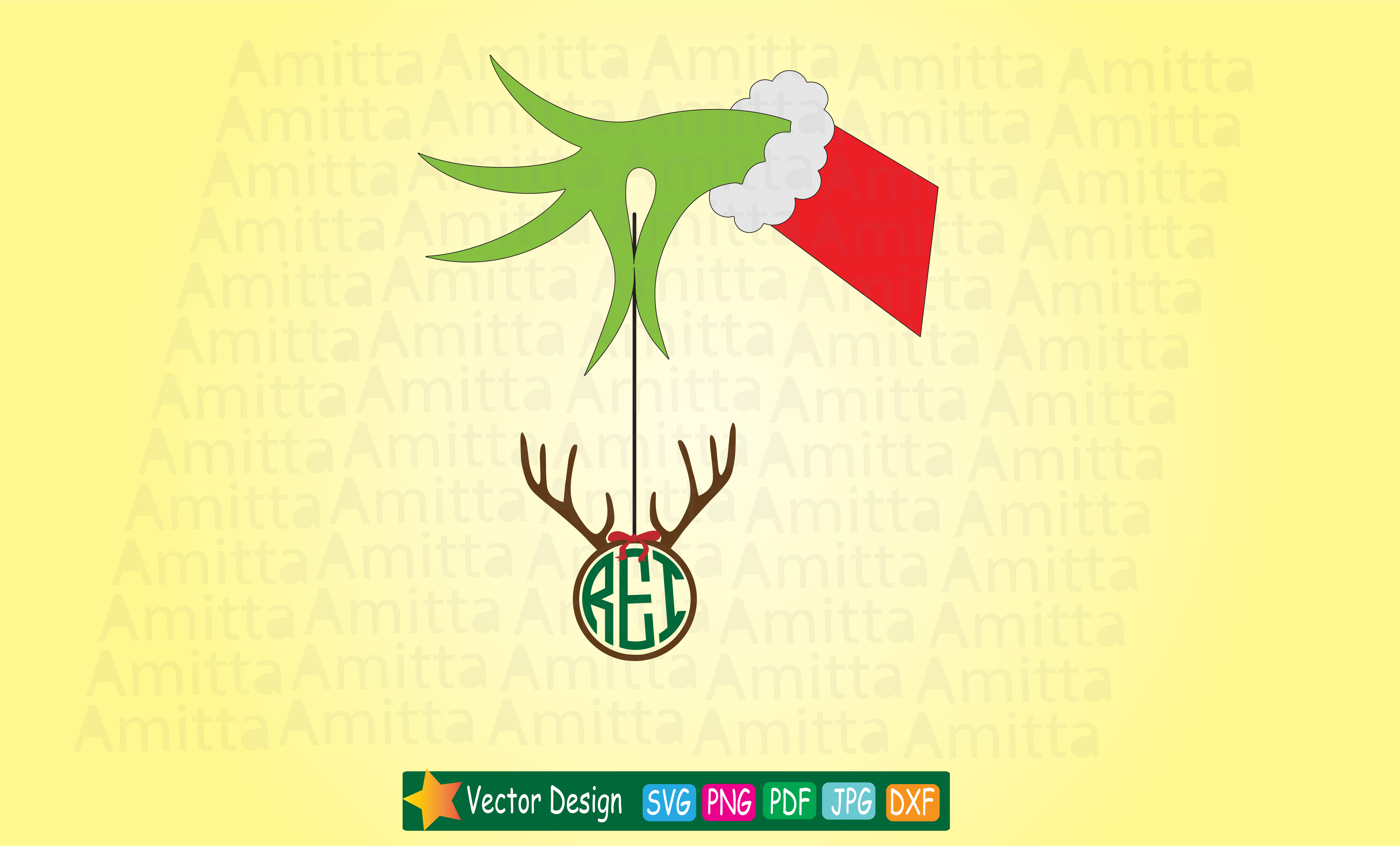 Download Free Monogram Reindeer Graphic By Amitta Creative Fabrica for Cricut Explore, Silhouette and other cutting machines.