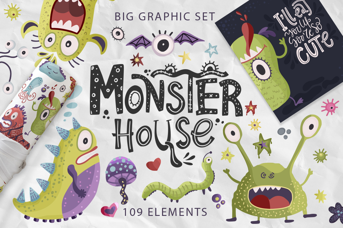 Download Free Monster House Graphic Pack Graphic By Red Ink Creative Fabrica for Cricut Explore, Silhouette and other cutting machines.