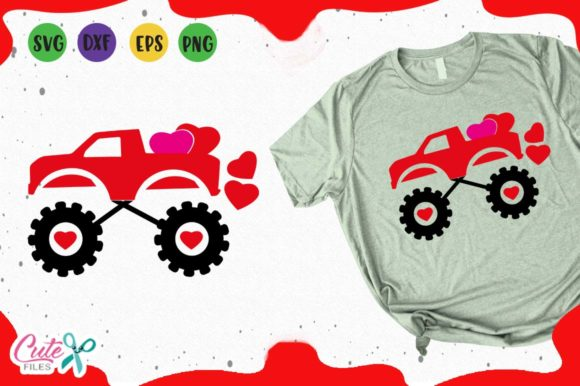 Monster Truck with Hearts Svg Graphic Illustrations By Cute files