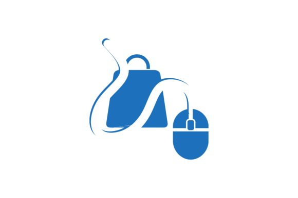 Download Free Mouse And Shop Bag Online Shop Logo Graphic By for Cricut Explore, Silhouette and other cutting machines.