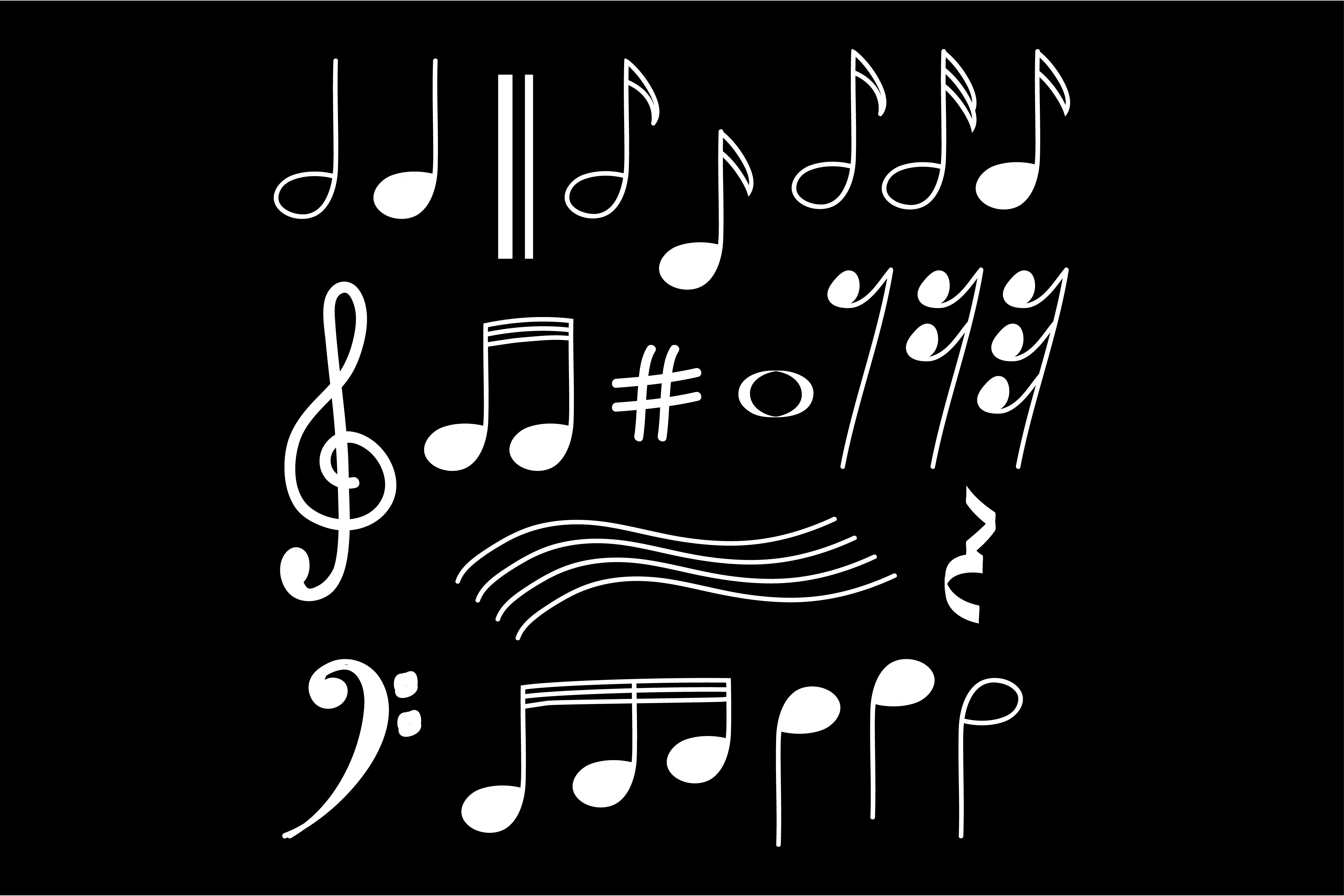 Download Free Music Note Doodles Graphic By Sabavector Creative Fabrica for Cricut Explore, Silhouette and other cutting machines.