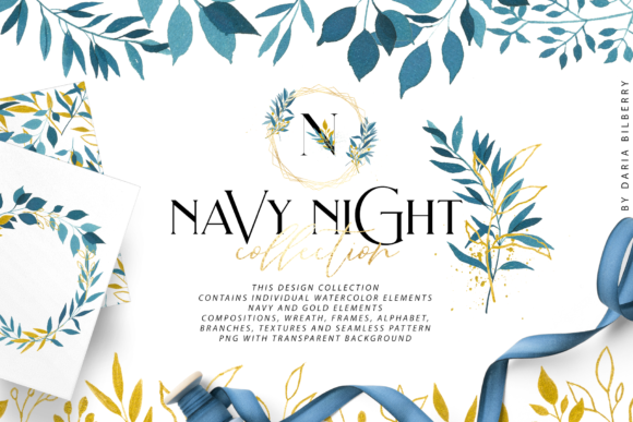 Navy Night Graphic Illustrations By BilberryCreate