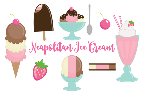 Print on Demand: Neapolitan Ice Cream Set Graphic Illustrations By sonyadehart