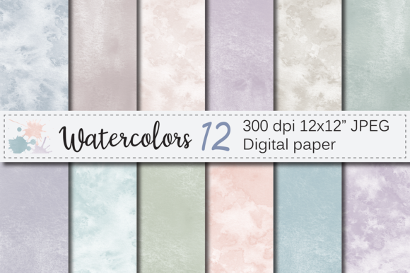 Neutral Watercolor Digital Papers / Textures / Backgrounds Graphic By VR Digital Design Image 1