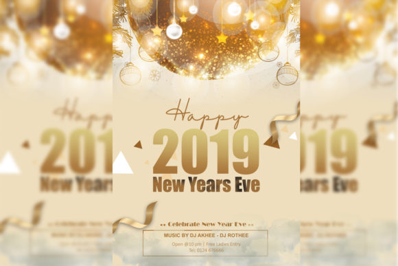 Print on Demand: New Year Flyer Gold Graphic Print Templates By Dawn Studio
