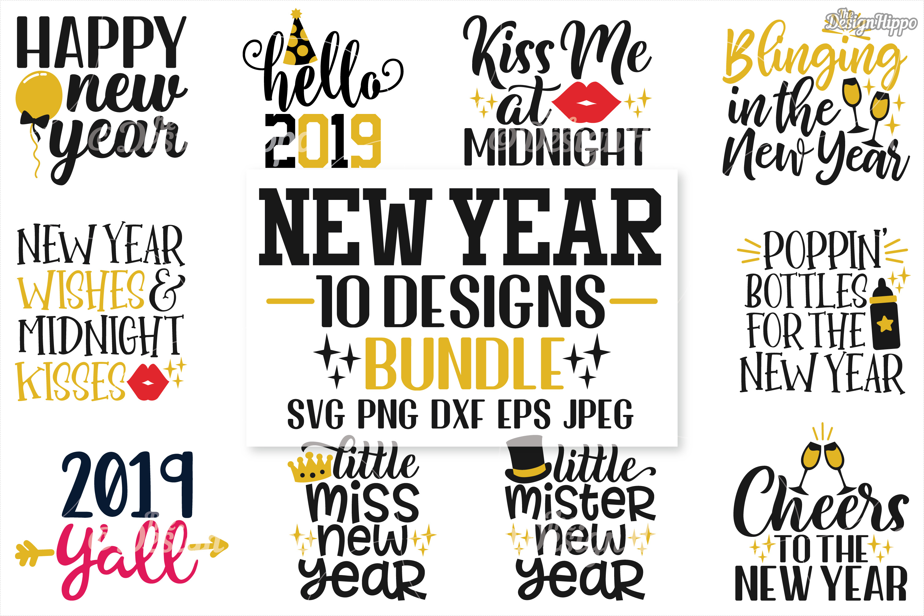 Download Free New Year S Eve Bundle Graphic By Thedesignhippo Creative Fabrica for Cricut Explore, Silhouette and other cutting machines.