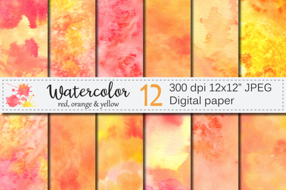 Orange Red Yellow Watercolor Digital Paper, Texture Graphic Textures By VR Digital Design