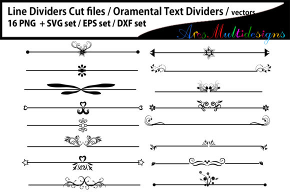 Print on Demand: Ornamental Text Dividers - Svg, Eps, Png, Dxf Graphic Crafts By Arcs Multidesigns