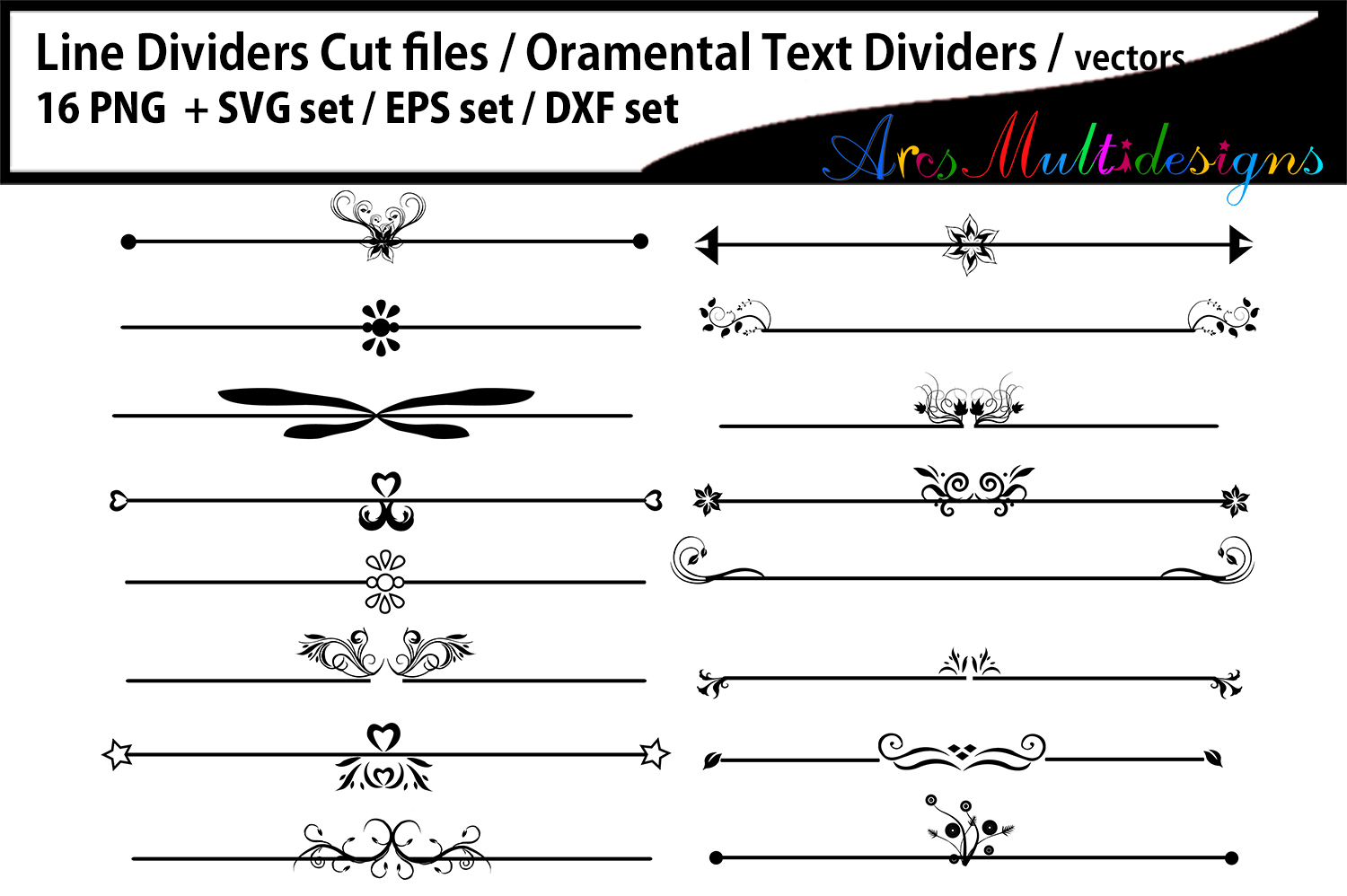 Download Free Ornamental Text Dividers Graphic By Arcs Multidesigns Creative for Cricut Explore, Silhouette and other cutting machines.