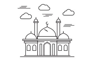 Download Free Outline Mosque Vector Design Graphic By Sabavector Creative for Cricut Explore, Silhouette and other cutting machines.