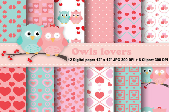 Print on Demand: Owls Lovers Digital Paper Graphic Patterns By CosmosFineArt