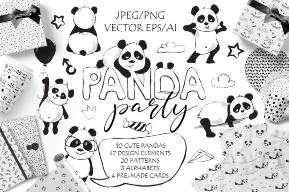 Panda Party Cute Set Graphic Illustrations By EvgeniiasArt