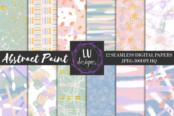 Pastel Abstract Paint Seamless Patterns Graphic Backgrounds By Lu Designs