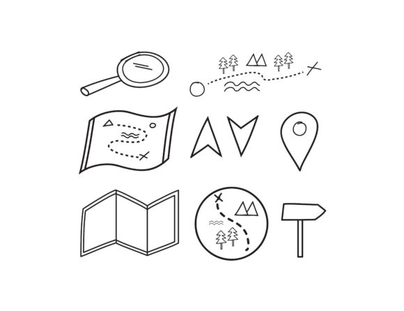 Print on Demand: Pin Map Doodle Vector Graphic Objects By sabavector