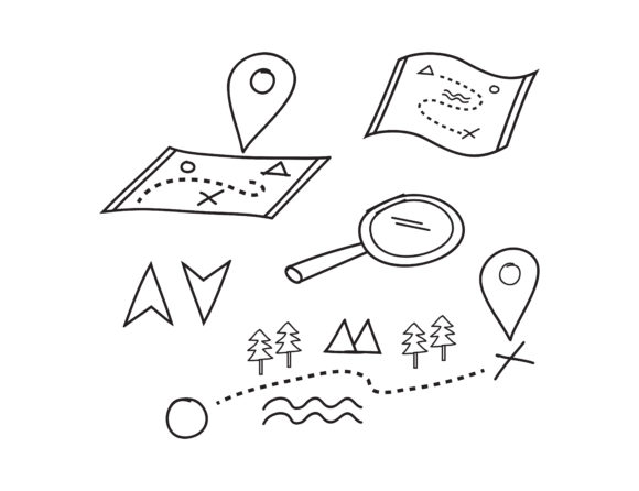Print on Demand: Pin Map Doodle Vector Graphic Illustrations By sabavector