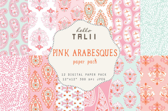 Pink Arabesques Digital Paper Graphic Patterns By Hello Talii