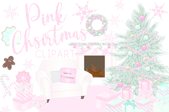 Print on Demand: Pink Christmas Clipart Graphic Illustrations By lilyuri0205