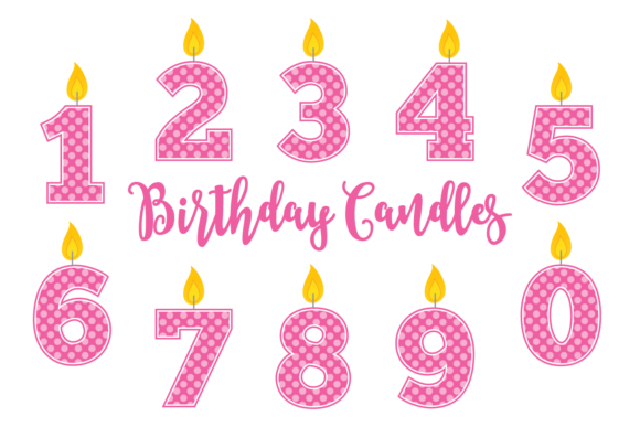 Download Free Pink Polka Dot Birthday Candles Graphic By Sonyadehart SVG Cut Files