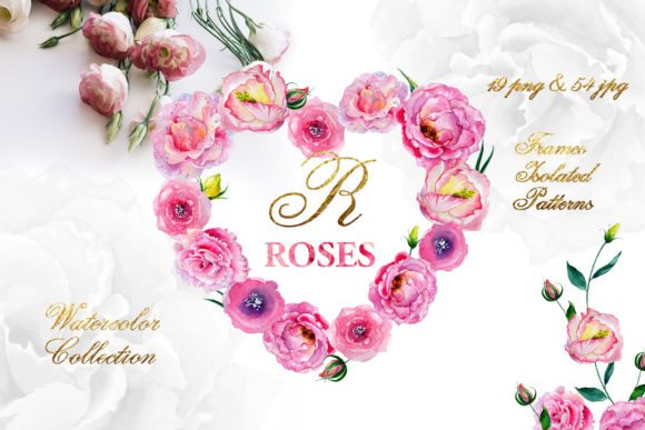 Print on Demand: Pink Roses Watercolor Graphic Illustrations By MyStocks