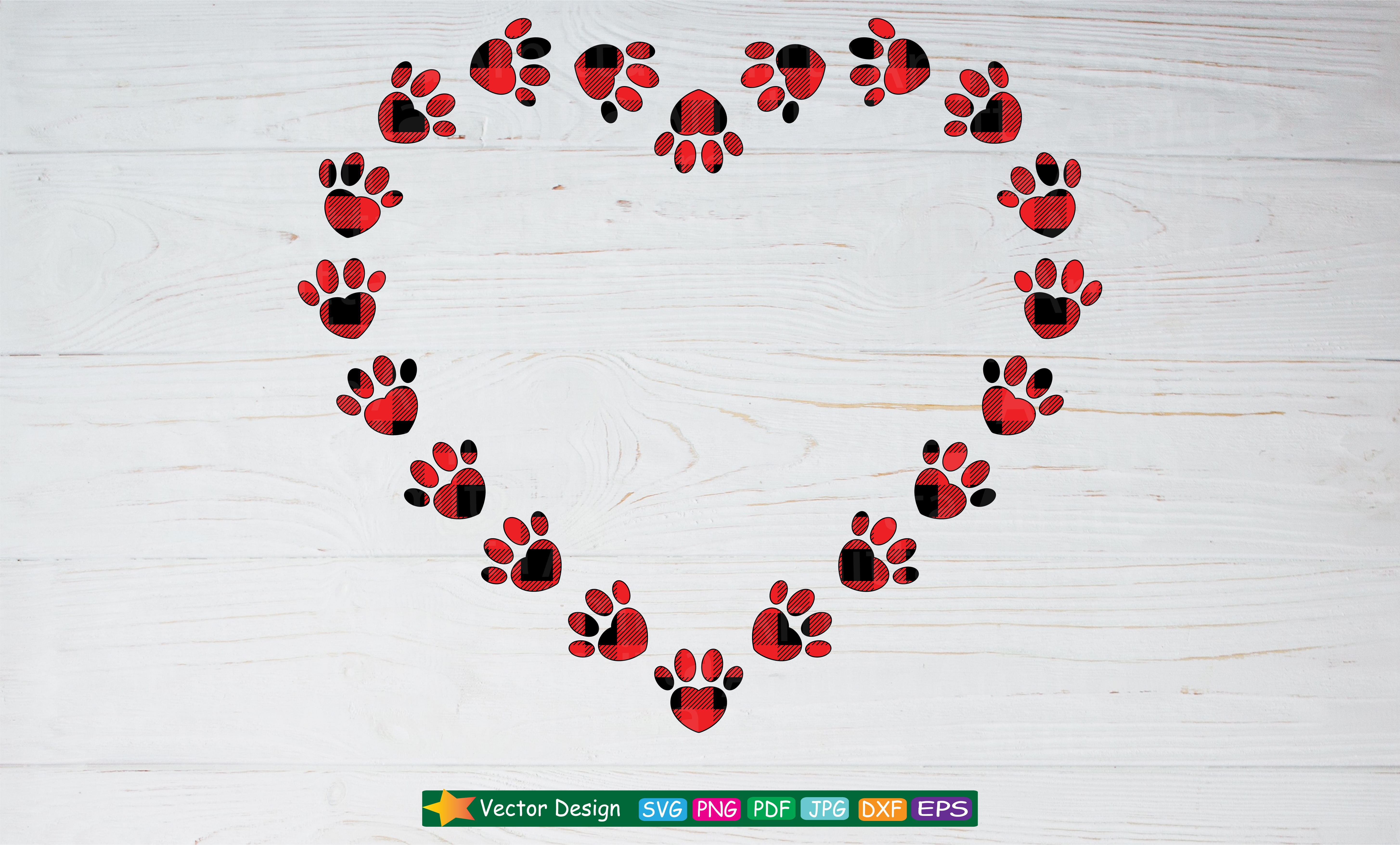 67221275 Plaid Paw Heart SVG