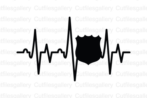 Download Free Police Badge Heartbeat Svg Graphic By Cutfilesgallery Creative for Cricut Explore, Silhouette and other cutting machines.