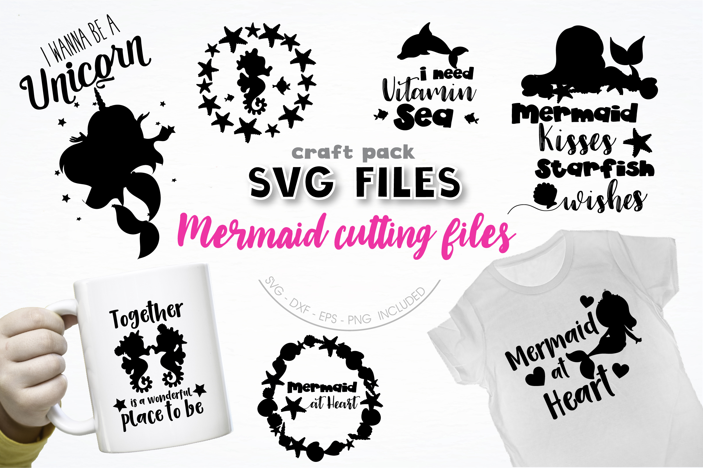 Download Free Pretty Cuttables Mermaid Graphic By Prettycuttables Creative for Cricut Explore, Silhouette and other cutting machines.