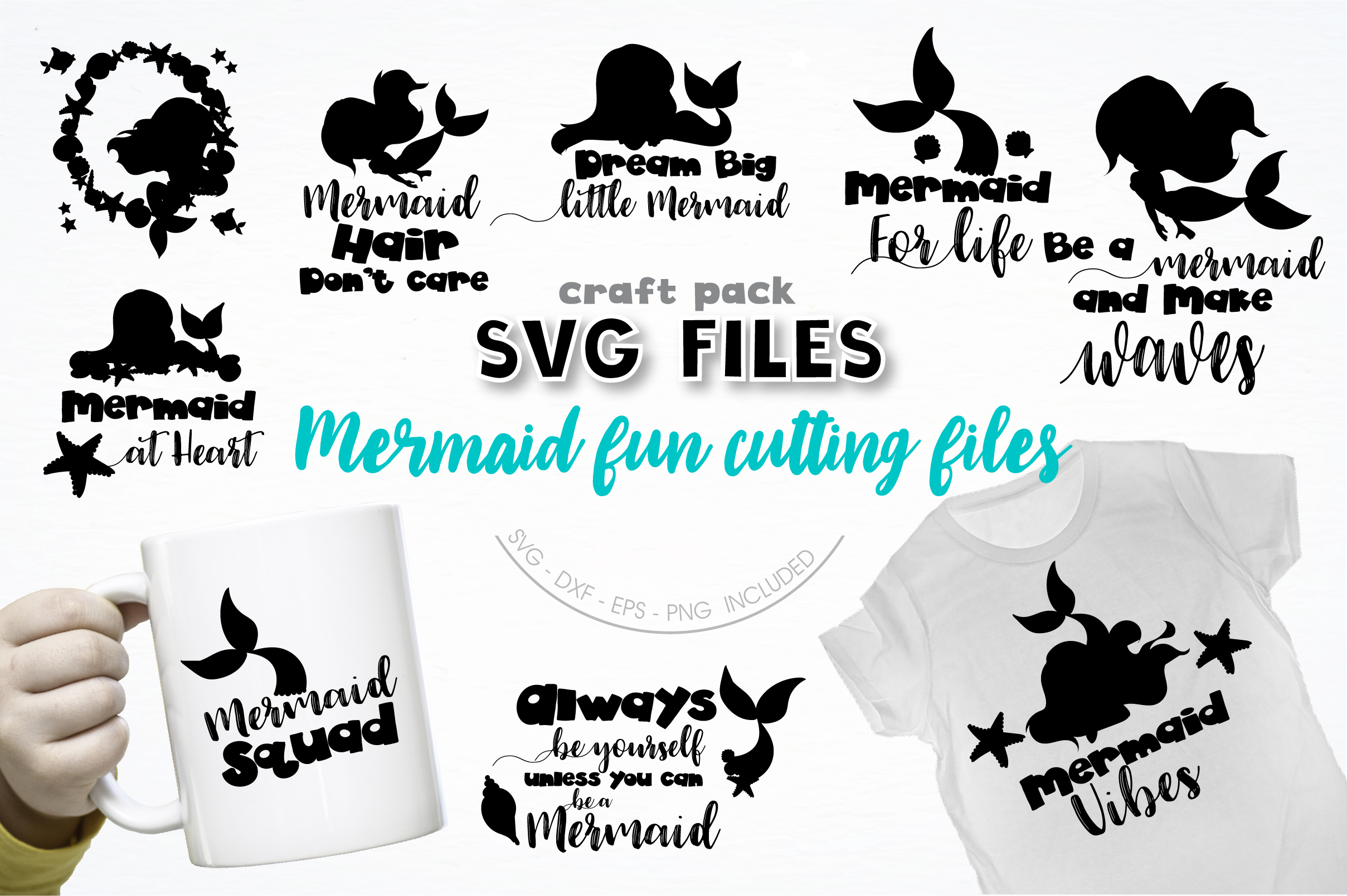 Download Free Pretty Cuttables Mermaid Fun Graphic By Prettycuttables for Cricut Explore, Silhouette and other cutting machines.