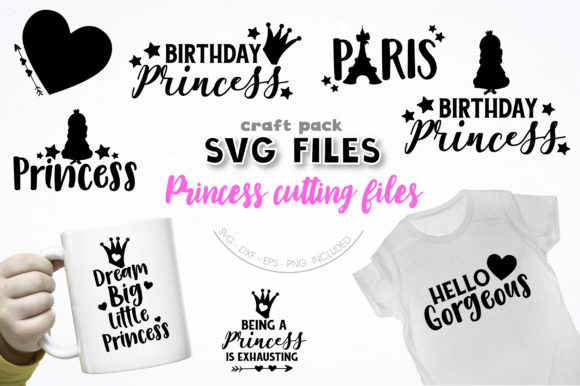 Pretty Cuttables Princess Cut Files Grafik Designvorlagen von PrettyCuttables