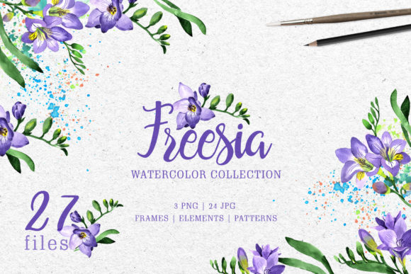 Download Free Purple Freesia Watercolor Graphic By Mystocks Creative Fabrica for Cricut Explore, Silhouette and other cutting machines.