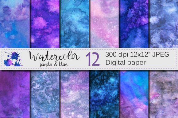 Purple and Blue Watercolor Digital Paper, Texture Graphic Textures By VR Digital Design
