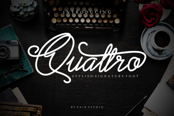 Print on Demand: Quattro Script & Handwritten Font By zainstudio