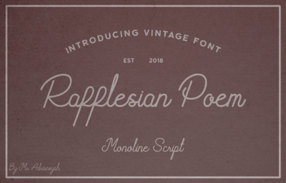 Print on Demand: Rafflesian Poem Script & Handwritten Font By Adriansyah