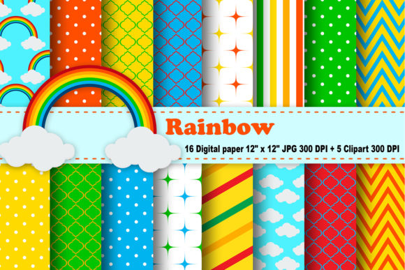 Print on Demand: Rainbow Digital Paper Graphic Patterns By CosmosFineArt