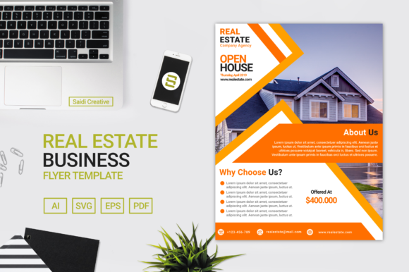 Real Estate Business Flyer Template Graphic Print Templates By Saidi Creative