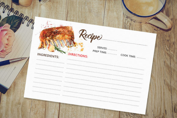 Recipe Card Graphic Print Templates By danieladoychinovashop