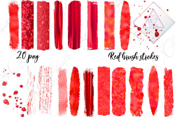 Print on Demand: Red Brush Strokes Clipart Graphic Illustrations By fantasycliparts