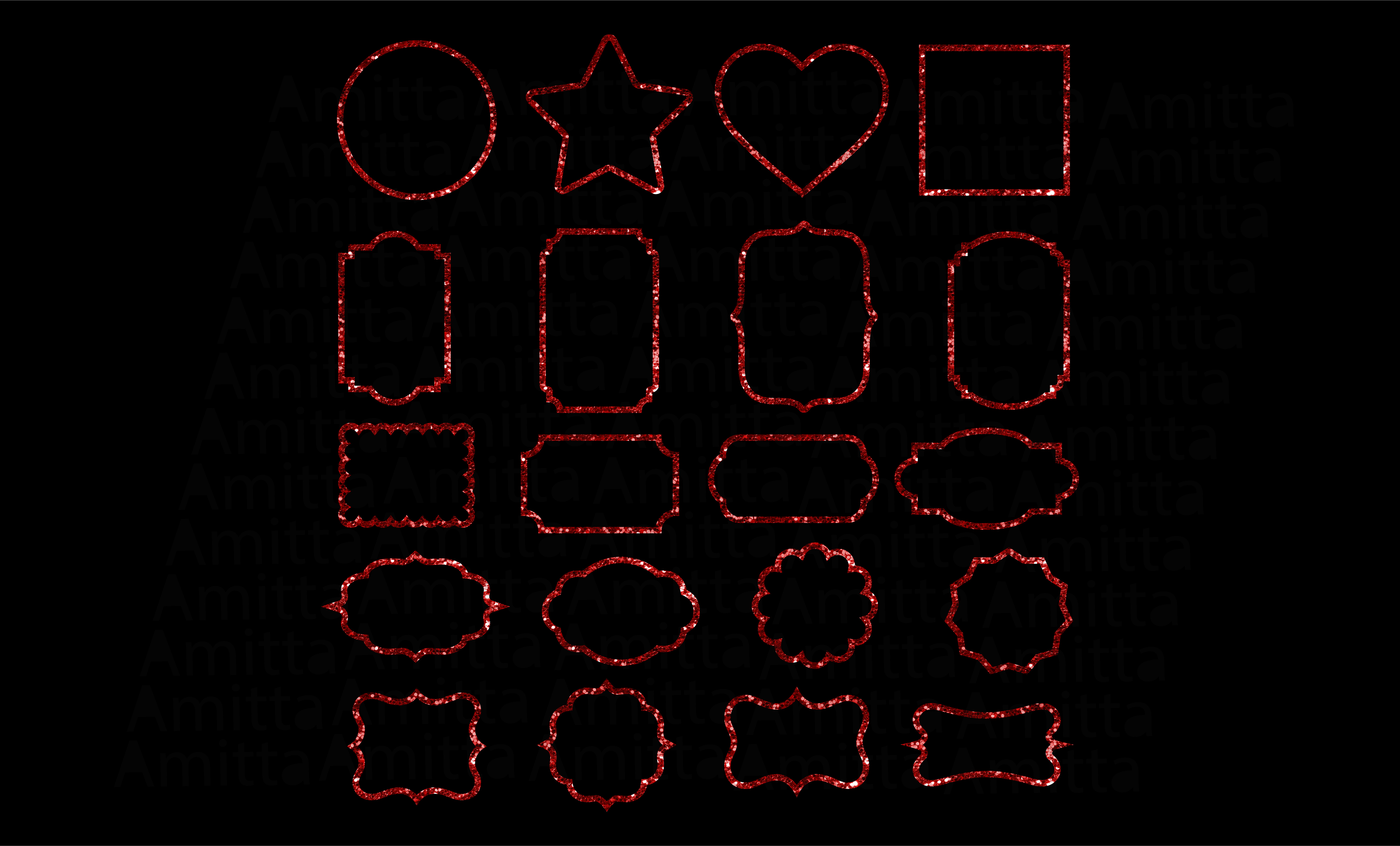 Download Free Red Glitter Frames Clipart Graphic By Amitta Creative Fabrica for Cricut Explore, Silhouette and other cutting machines.