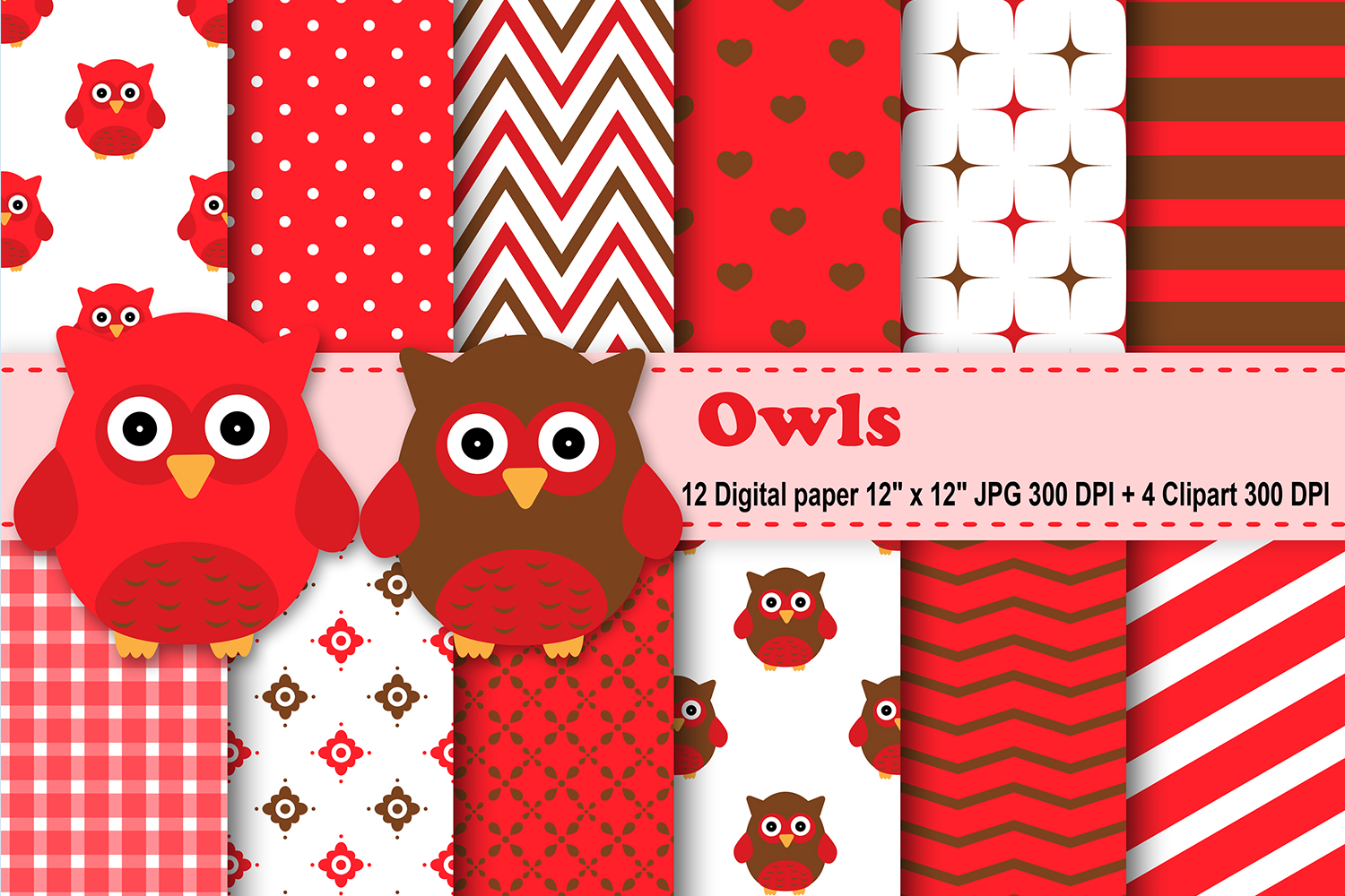 Download Free Red Owls Digital Paper Graphic By Cosmosfineart Creative Fabrica for Cricut Explore, Silhouette and other cutting machines.