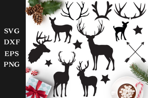 Download Free Reindeer Silhouettes Graphic By Nerd Mama Cut Files Creative for Cricut Explore, Silhouette and other cutting machines.