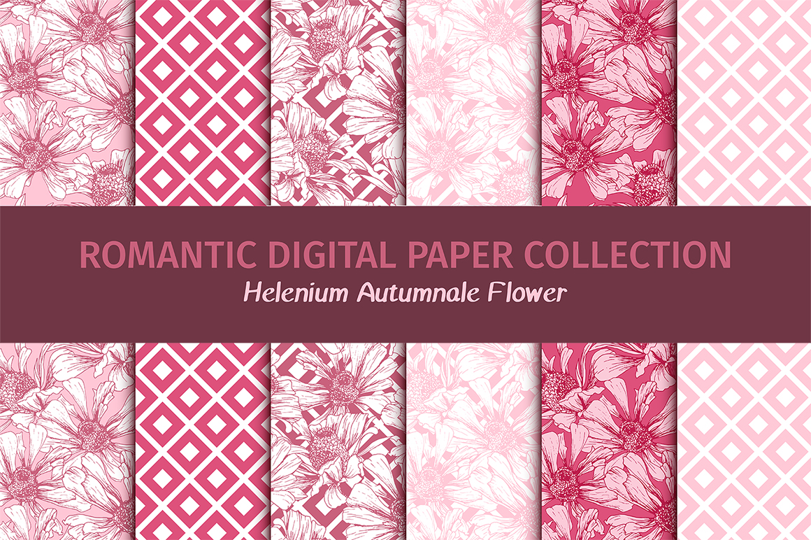 Download Free Romantic Flower Digital Papers Graphic By Ilonitta R Creative for Cricut Explore, Silhouette and other cutting machines.