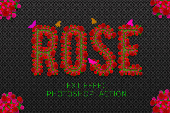 Rose Flower Text Effect Graphic Actions & Presets By yantodesign