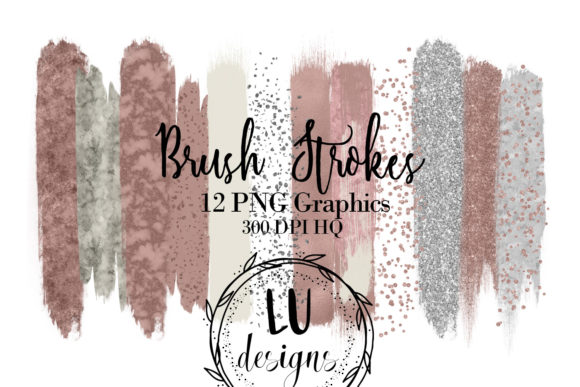 Rose Gold Foil Brush Strokes Graphic Textures By Lu Designs