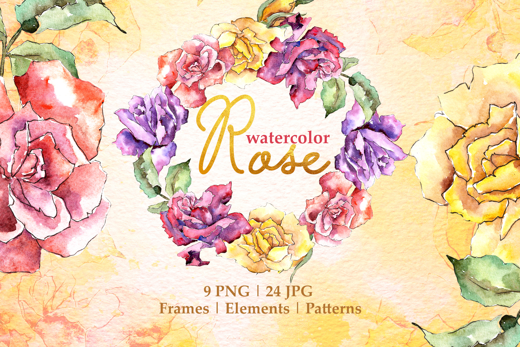 Download Free Rose Multi Colored Watercolor Png Graphic By Mystocks Creative for Cricut Explore, Silhouette and other cutting machines.