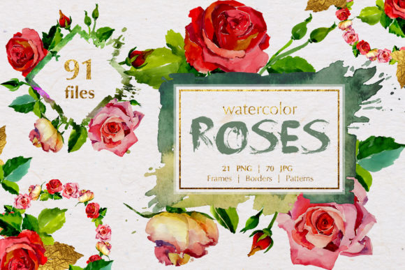 Print on Demand: Watercolor Scarlet Roses Graphic Illustrations By MyStocks
