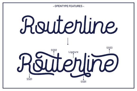 Print on Demand: Routerline Rough Family Display Font By Viaction Type.Co - Image 4