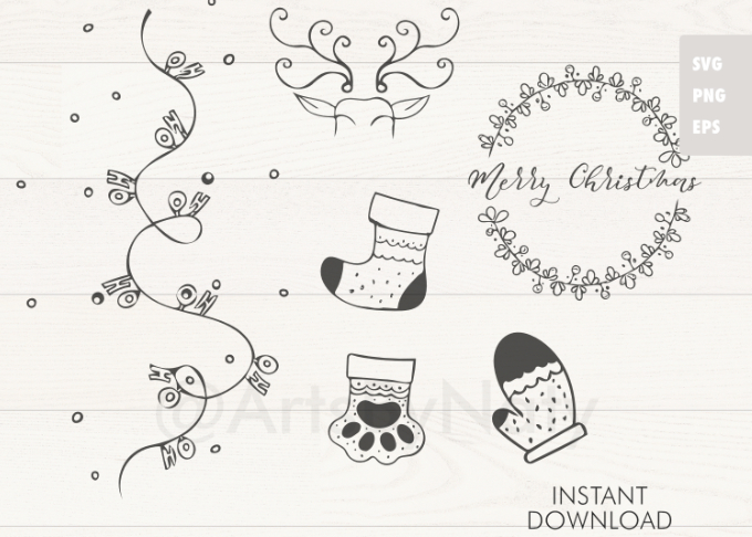 Download Free Christmas Bundle Graphic By Artsbynaty Creative Fabrica for Cricut Explore, Silhouette and other cutting machines.