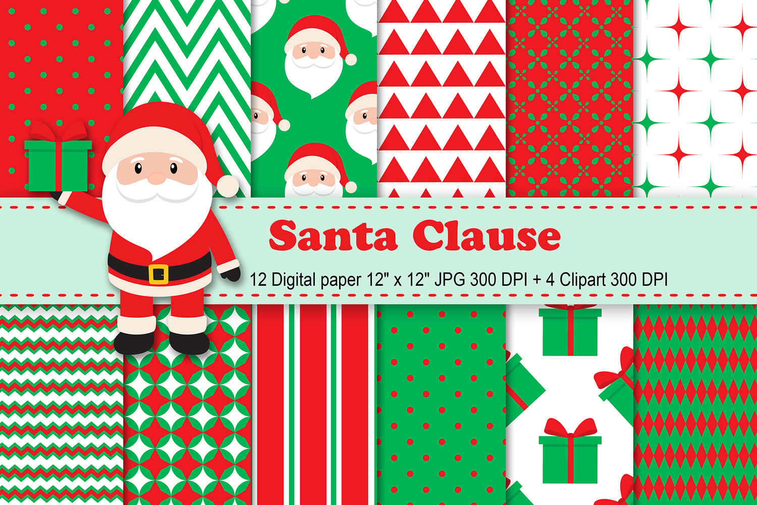 Download Free Santa Clause Digital Paper Graphic By Cosmosfineart Creative for Cricut Explore, Silhouette and other cutting machines.