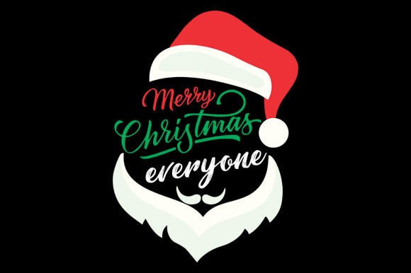Download Free Santa Hat Merry Christmas Everyone Graphic By Goldenflower for Cricut Explore, Silhouette and other cutting machines.